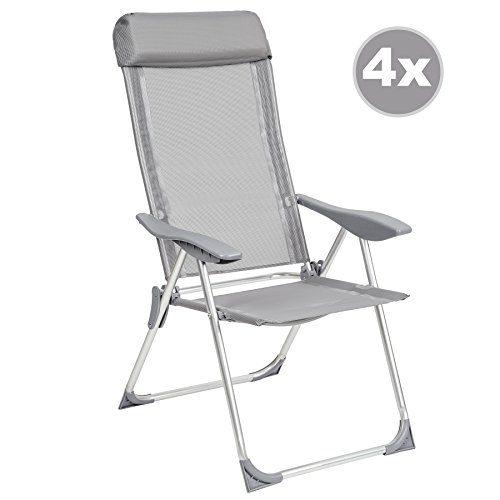 TecTake 4er Set Aluminium Klappstuhl Gartenstuhl verstellbar mit Armlehnen grau