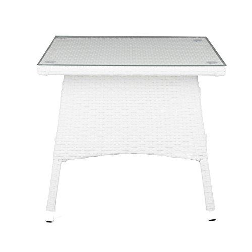 ESTEXO® Polyrattan - Beistelltisch, Tisch, Rattan, Teetisch, Gartentisch (50x50x45 cm, Weiß)