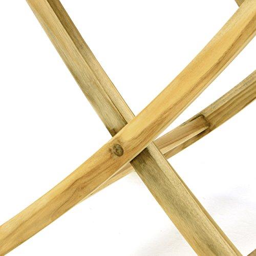 Divero Balkontisch Gartentisch Beistelltisch Teak Holz Tisch für Terrasse Balkon Garten – Wetterfest Massiv unbehandelt – 80 x 80 cm Natur-Braun