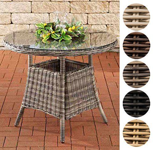 CLP Poly-Rattan Tisch FARSUND, Gartentisch rund Ø 90 cm, Höhe 74 cm, 4 Personen, 5 mm RUND Rattan, ALU-Gestell Braun Meliert