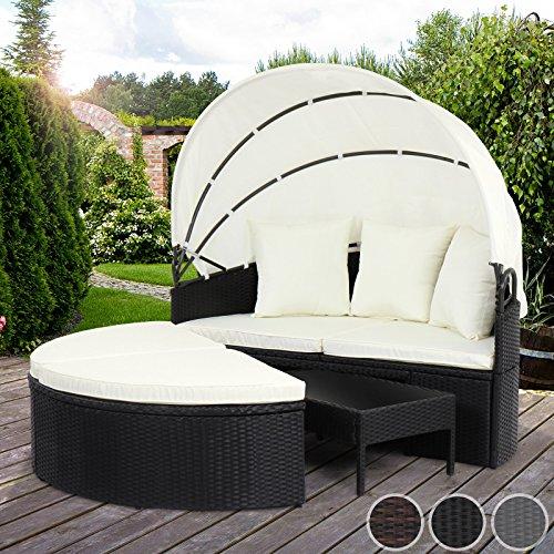Miadomodo Polyrattan Sonneninsel Sonnenliege Lounge Gartenmöbel mit aufklappbarem Dach und Polyrattan Tisch (75/45/27 cm) mit Farbwahl