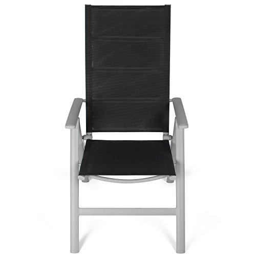 Vanage Gepolsterter Gartenstuhl in Schwarz - Klappstuhl im 2er Set - Hochlehner - Klappsessel - Gartenmöbel - Stuhl für Garten, Terrasse und Balkon Geeignet