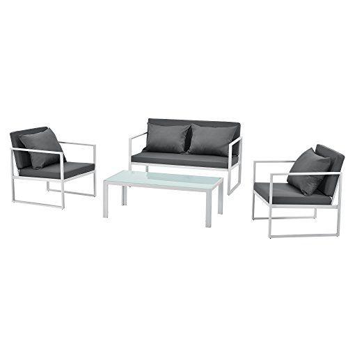 [casa.pro]® Sitzgruppe Weiß/Grau Gartenmöbel Set Gartenstühle Garten Sofa Lounge