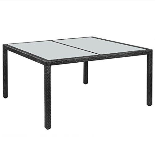 Festnight Gartentisch Esstisch Tisch Polyrattan 150 × 90 × 75 cm Schwarz