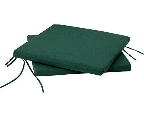 2x Sitzkissen BAD TÖLZ für Gartenstühle 40x41cm, dunkelgrün