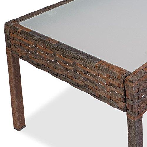 Polyrattan Teetisch mit Milchglas | ca. 75x40x37 cm | Rattantisch | Glasplatte | Farbwahl | Gartenmöbel | Lounge Tisch Farbe Braun
