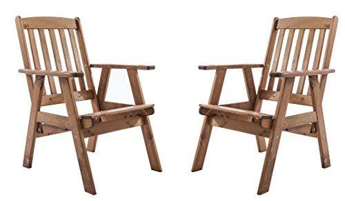 Ambientehome Gartensessel verstellbarer Sessel Stuhl Gartenstuhl Massivholz Hochlehner VARBERG, braun, 2-teiliges Set
