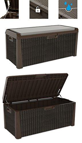 XL Toomax Kissenbox braun 560 Liter Inhalt - mit Sitzfläche 380 kg Tragtkraft - absolut wasserdicht - abschließbar