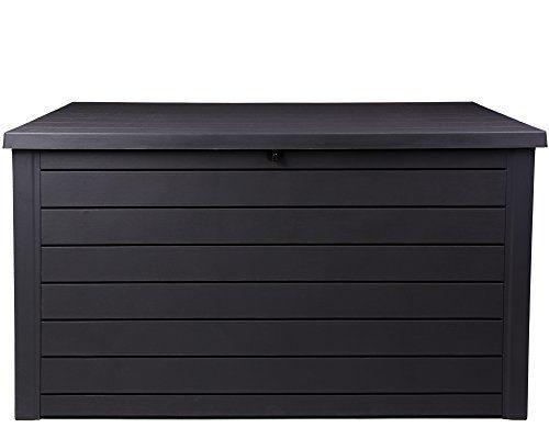Ondis24 Ontario Kissenbox XXL Auflagenbox anthrazit 870 Liter Holz Optik mit Gasdruckfedern ca. 146 x 82 x 86 (H) cm