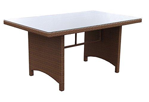 Famous Home Polyrattan Tisch Coffee 150x90cm Glas Esstisch Gartentisch