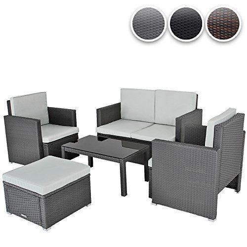 Hochwertige 5-teilige Polyrattan Sitzgruppe Gartenmöbel inkl. Tisch und Sitzkissen – Farbwahl -