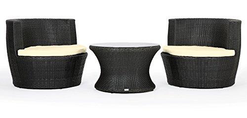 Rattan4Life Capri Rattan schwarz / creme Polyrattan Gartenmoebel Sitzgruppe Lounge Moebel Set Tisch Gartentisch Sessel Sofa Stuhl Kissen Balkon Garten