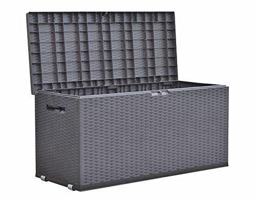 Dynamic24 Auflagenbox Rattan Optik Gartenbox Gartentruhe Auflagen Kissen Garten Box Truhe