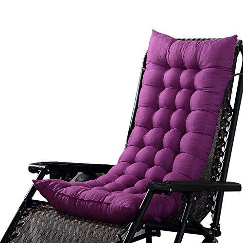 Souarts Stuhlauflage Hochlehner Auflage mit dicker Comfort Polsterung geeignet für Gartenstuhl Klappsessel Liegestuhl 125x48cm (Lila)