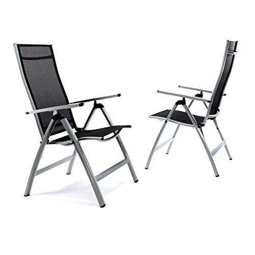 Nexos 2er Set Deluxe Alu Stuhl extrabreit Klappstuhl Gartenstuhl verstellbar schwarz Hochlehner XL