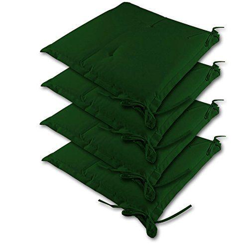 Detex® Stuhlauflagen | 4er Set Kissen | wasserabweisend | Sitzkissen Stuhlkissen Sydney Hochlehner Auflage Sitzauflage - Grün - Farbauswahl