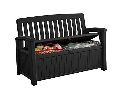 Koll Living Gartenbank/Aufbewahrungsbox/Auflagenbox - 227 Liter - Deckel belastbar bis 272 KG - Belüfteter innenraum - kein übler Geruch oder Schimmel - Modell 2019