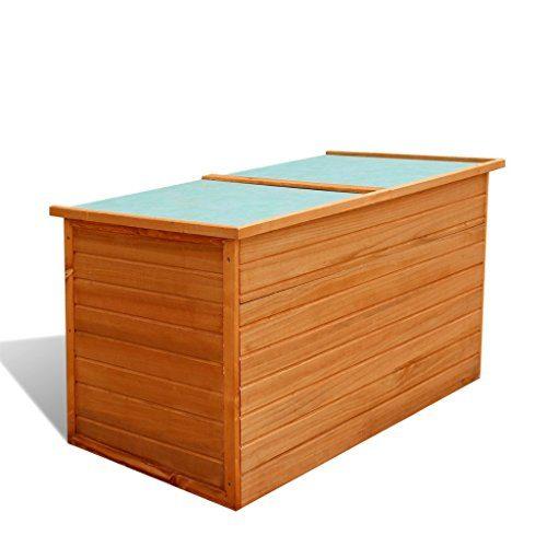 Festnight Wasserdichte Garten-Aufbewahrungsbox Gartenbox Auflagenbox aus Holz 126 x 72 x 72 cm für Garten oder Terrasse