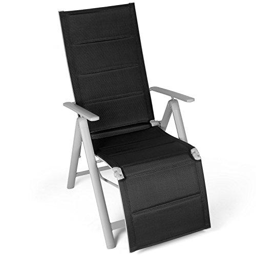 Vanage gepolsterter Gartenstuhl mit Fußableger in schwarz - Klappstuhl - Hochlehner - Klappsessel - Gartenmöbel - Stuhl für Garten, Terrasse und Balkon geeignet