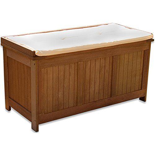 STILISTA Gartenbank Gartenbox aus 100% FSC zertifiziertem Shorea-Hartholz, geölt, Liftautomatik, inkl. Kissen in Farbe natur, 113 x 52,5 x 60,5 cm, Auflagentruhe