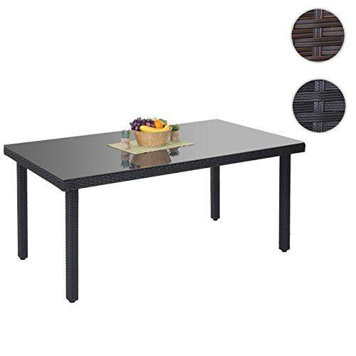 Mendler Poly-Rattan Gartentisch Cava, Esstisch Tisch mit Glasplatte, 160x90x74cm ~ anthrazit