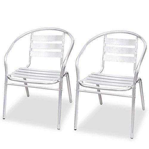 vidaXL 2x Stapelbare Stuhl Alu Stapelstuhl Essstuhl Balkonstuhl Gartenstuhl