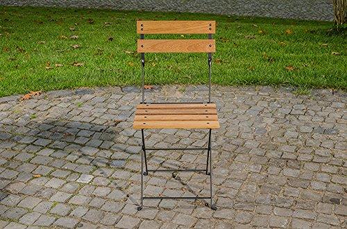 CLP Klappstuhl PALU aus galvanisiertem Eisen | hochwertiger Teakstuhl | klappbar | Sitzhöhe von 47 cm Schwarz