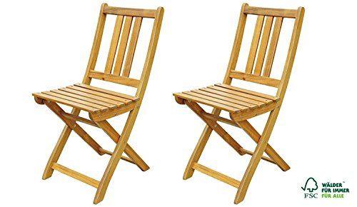 SAM® 2er Set Akazien-Holz Gartenstuhl, FSC® zertifiziert, ideal für Balkon, Garten Terrasse, zusammenklappbar