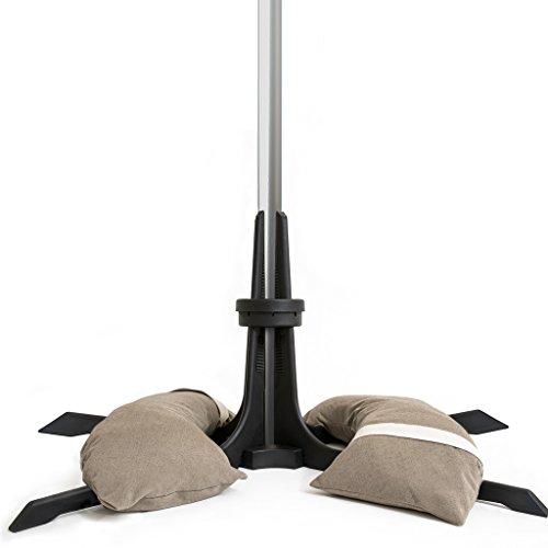 Sonnenschirmständer mit befüllbaren Sandsäcken für Schirme bis zu 3.5 m. Passt für jeden Schirm mit einem Durchmesser zwischen 28-58 mm. Wetterfester, nicht-rostender und sehr stabiler Schirmständer. Zubehör für Sonnenschirme (40kg, Taupe)