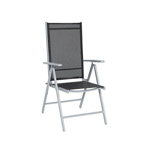 greemotion Klappsessel Prag silber/schwarz, Sitzmöglichkeit für In- und Outdoor, 7-fach verstellbare Rückenlehne, hochwertiges Aluminiumgestell, schnelltrocknende 1x1 Textilene, witterungsbeständig