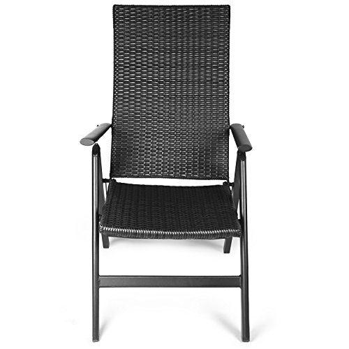 Vanage Polyrattan Gartenstuhl in schwarz - Alu Klappstuhl - Hochlehner - Klappsessel - Gartenmöbel - Relax-Sessel für Garten, Terrasse und Balkon geeignet