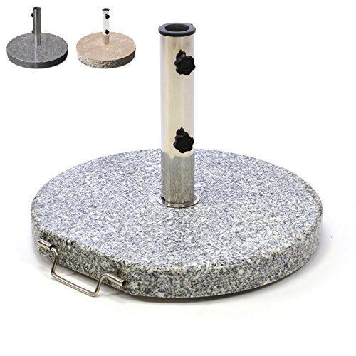Nexos Schirmständer Sonnenschirmständer Granit poliert rund Ø 50cm Steindicke 5cm ca. 25kg Edelstahlrohr Griff Rollen grau