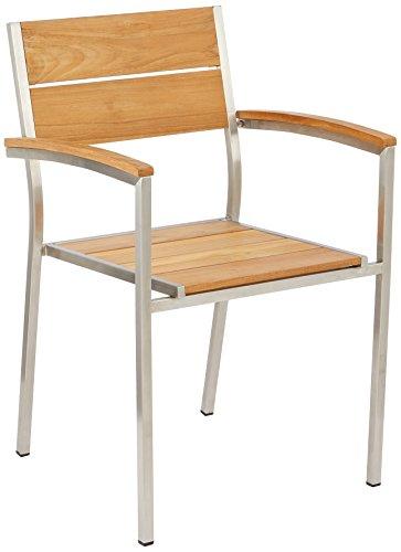 greemotion 128530 Gartenstuhl SAN DIEGO-Teak Holz Stapelstuhl Edelstahl-Stapelsessel mit Armlehne für Garten Balkon & Terrasse-Teakholz Stuhl massiv, Braun, 5,3 x 5,6 x 8,4 cm