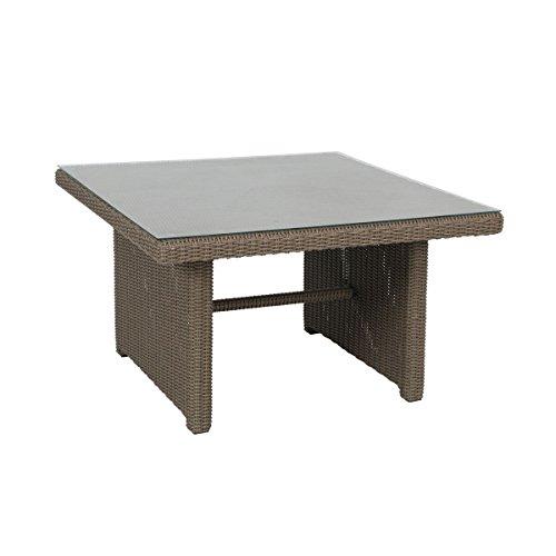 greemotion Tisch New York braun, Esstisch inklusive Glasplatte, Terassentisch für 4 Personen, Gartentisch aus hochwertigem Aluminiumgestell und Poly-Rattan, witterungsbeständig und pflegeleicht
