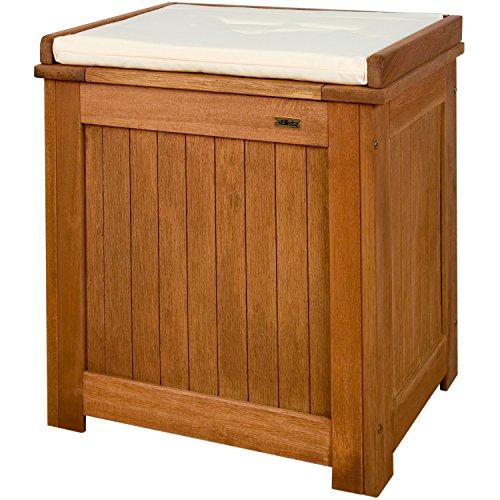 STILISTA Gartenbank Gartenbox aus 100% FSC zertifiziertem Shorea-Hartholz, geölt, Liftautomatik, inkl. Kissen in Farbe natur, 43 x 55 x 62 cm, Auflagentruhe