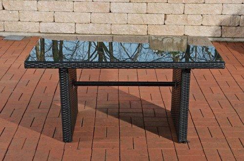 CLP Polyrattan-Gartentisch FISOLO mit einer Tischplatte aus Glas | Wetterbeständiger pflegeleichter Tisch | In verschiedenen Farben erhältlich Schwarz