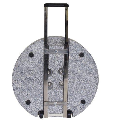 TPFGarden® Premium Schirmständer mit Rollen und Griff LAURA 60kg | für Marktschirme / Kurbelschirme ohne Füße | aus massivem echtem Granit✔ | für Schirmstöcke bis 60mm✔ | Adapter für 38mm, 48mm und 58mm✔ | Farbe Schirmständer: Granit hellgrau✔