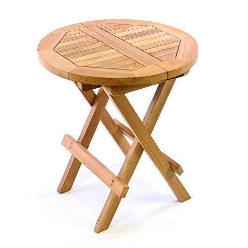 Divero Kindertisch Beistelltisch Balkontisch Teak Holz Tisch für Terrasse Balkon Garten – Wetterfest klappbar behandelt – Ø 40 cm Natur-Braun