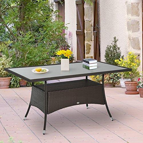 Outsunny® Gartentisch Esstisch Glastisch Gartenmöbel Tisch, Polyrattan+Sicherheitsglas, Braun, 150x85x74cm