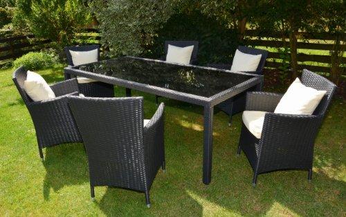 Rattan4Life Bologna schwarz / creme Tisch 160 cm Polyrattan Gartenmoebel Sitzgruppe Lounge Moebel Set Gartentisch Sessel Sofa Stuhl Kissen Balkon