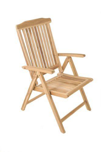 SAM® Garten-Hochlehner, Klappstuhl ist 5-fach verstellbar, Terrassen-Stuhl aus Holz, Teakholz-Möbel mit geschliffener Oberfläche, Massivholz-Möbel für Garten oder Terrasse [53263256]