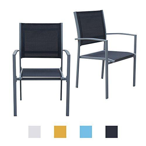 Gartenstühle mit Armlehne Doppelpack grauer Rahmen - Jalano Gartenstuhl in verschiedenen Farben wetterfest Stapelstuhl 2er Set Terrasse Gartenmöbel Bistro Stuhl (Schwarz)
