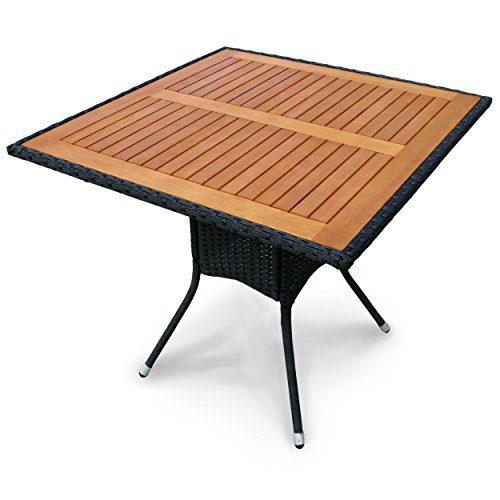 """Indoba Gartentisch, """"Valencia"""" - quadratisch - Polyrattan - Serie Valencia, schwarz, 85 x 85 x 74 cm, IND-70073-TI"""