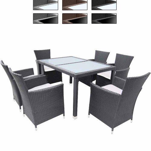 13-teilige Polyrattan Sitzgarnitur Terasse Gartenmöbel / Gartengarnitur inkl. Sitzkissen mit Farb- & Tischwahl