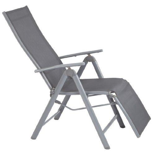 Ultranatura Aluminium Relax-Sessel mit Armlehne, Korfu-Serie, grau, 73 x 60 x 112 cm