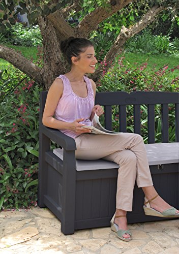Keter 6025 Gartenbank 2-Sitzer, Truhenbank Garten Eden, regenfest, grau, 265 L