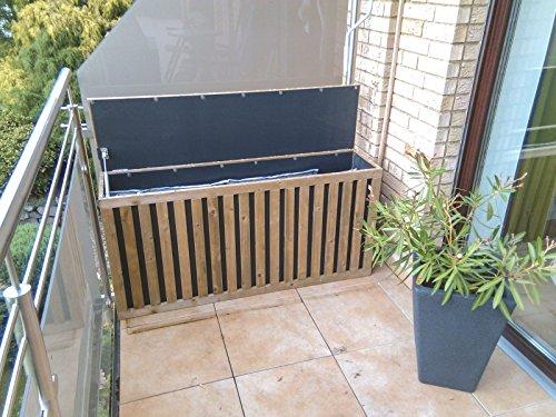 Auflagenbox Holz Regendicht Sitzstabil 115cm Innenmaß Hochlehner Auflagen Gartenbox Truhe HoPsti-Box (Slim)