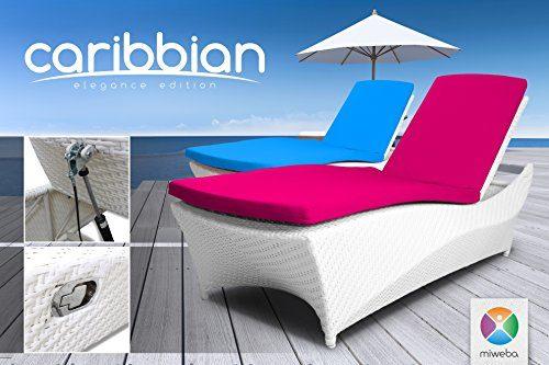 "Miweba Rattan Sonnenliege Carribian ""Elegance"" (Rattan: Weiß - Polster: Pink)"
