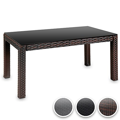 Hochwertiger Polyrattan Tisch Teetisch Beistelltisch für den Garten mit Glas (Farbwahl)