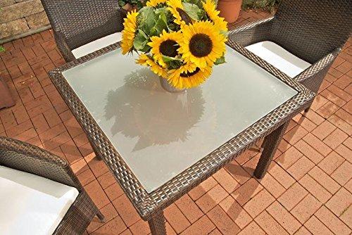 CLP Poly-Rattan Garten-Tisch RIO, 90 x 90 cm, Esstisch Höhe 75 cm, ALU-Gestell, Glasplatte 5 mm Sicherheitsglas, Platz für 4 Personen Braun Meliert